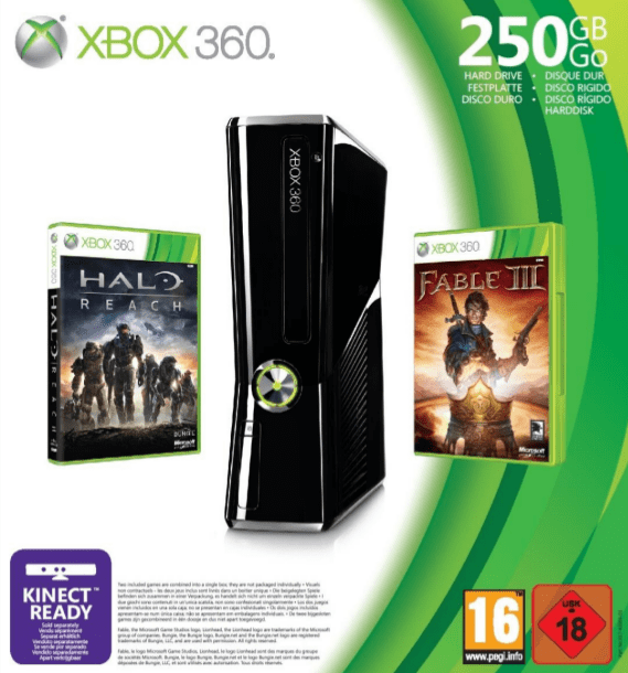 Pack Xbox 360 250 Go avec Halo Reach et Fable 3