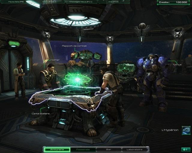 Voici le pont de votre vaisseau-amiral, l'Hyperion. Vous déciderez ici des missions à faire, ou de voir des replays, ou encore d'accéder aux autres sections du vaisseau.