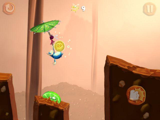 Rayman Fiesta Run - Globoxeur en pleine action pour attraper des Lums.