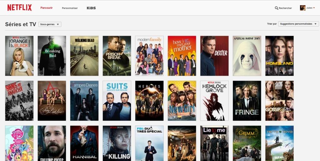 Voici un échantillon des séries disponibles sur Netflix.