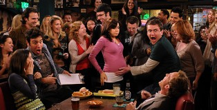 """The Stinsons"" -- The bar cheers Lily on as she competes against herself in a hot dog eating contest, on HOW I MET YOUR MOTHER, Monday, March 2 (8:30-9:00 PM, ET/PT) on the CBS Television Network. Robin (Cobie Smulders), Ted (Josh Radnor), Lily (Alyson Hannigan), Marshall (Jason Segel), and Barney (Neil Patrick Harris) at MacLaren's.  Photo: Michael Yarish/Fox  ©2009 Fox Television. All Rights Reserved."
