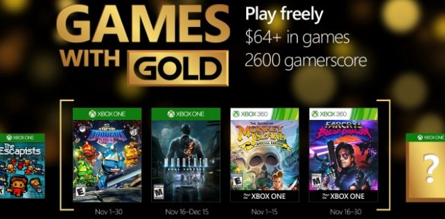Games With Gold : les jeux offerts en novembre 2016