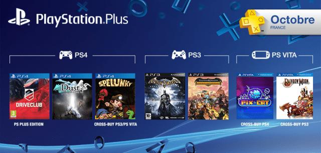 Les jeux PlayStation Plus du mois d'octobre 2014