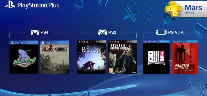 Les jeux PlayStation Plus du mois de mars 2015