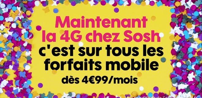 Sosh : la 4G est maintenant disponible sur tous les forfaits mobiles