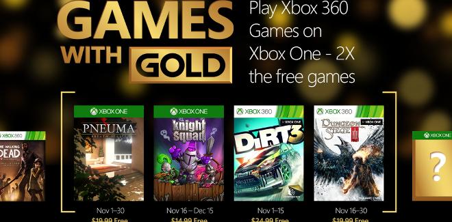 Games With Gold : les jeux offerts en novembre 2015