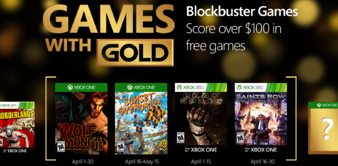 Games With Gold : les jeux offerts en avril 2016