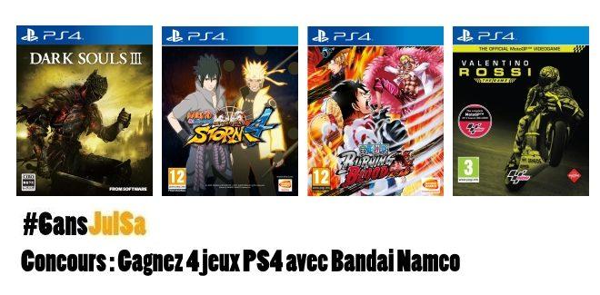 Concours : Gagnez 4 jeux PS4 avec Bandai Namco