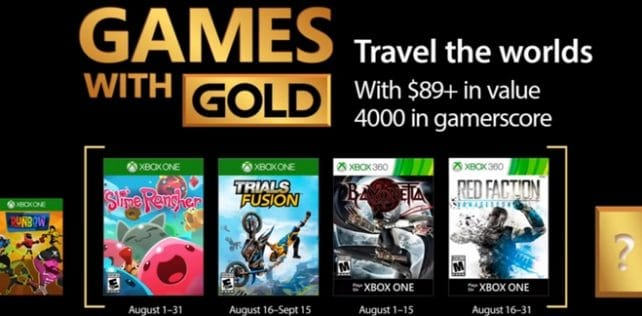 Games With Gold – Les jeux offerts en août 2017