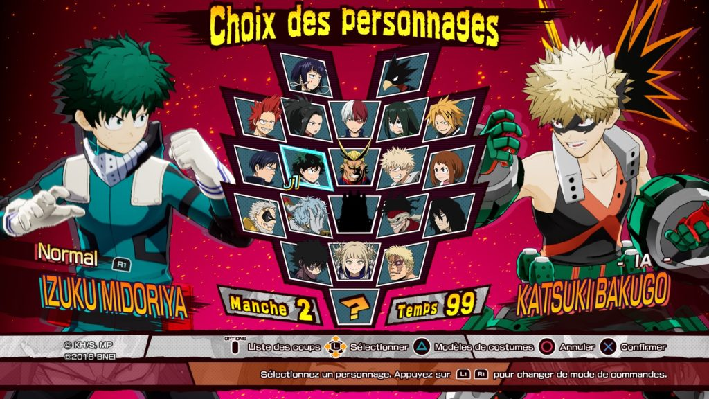 Liste personnage My Hero One justice